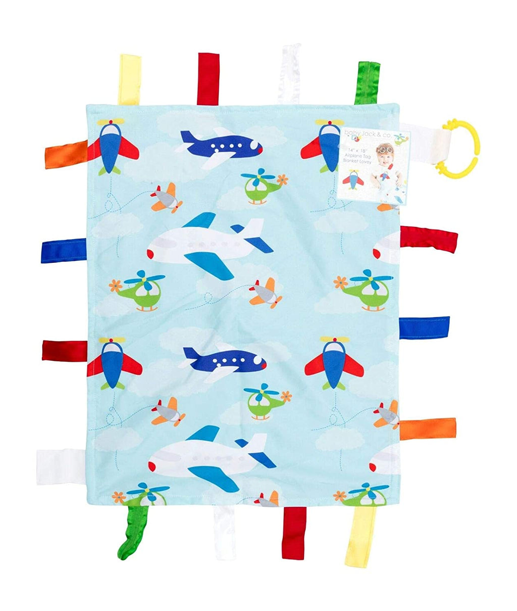 "14"" x 18"" Tag Blanket Lovey - Airplane"