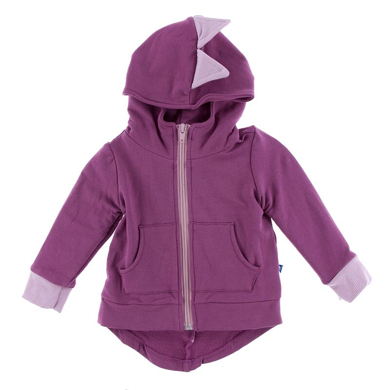 Kickee Pants - Paleontology Collection - Zip Front Dino Hoodie – Amethyst with Sweet Pea