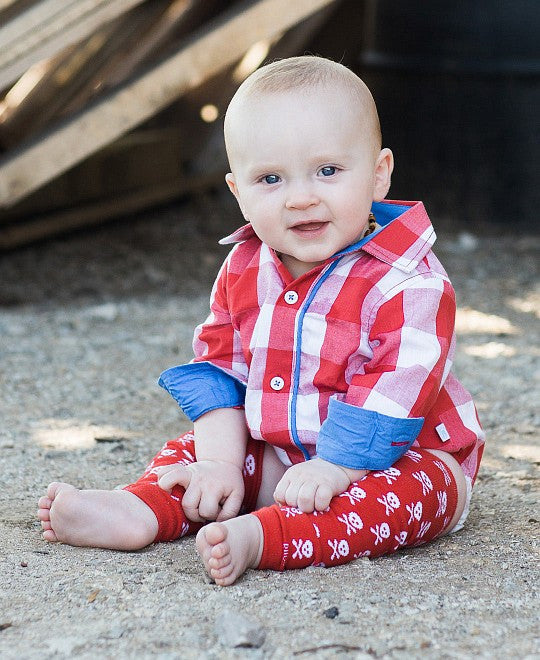 Rugged Butts - Red Gingham Button-Up Bodysuit