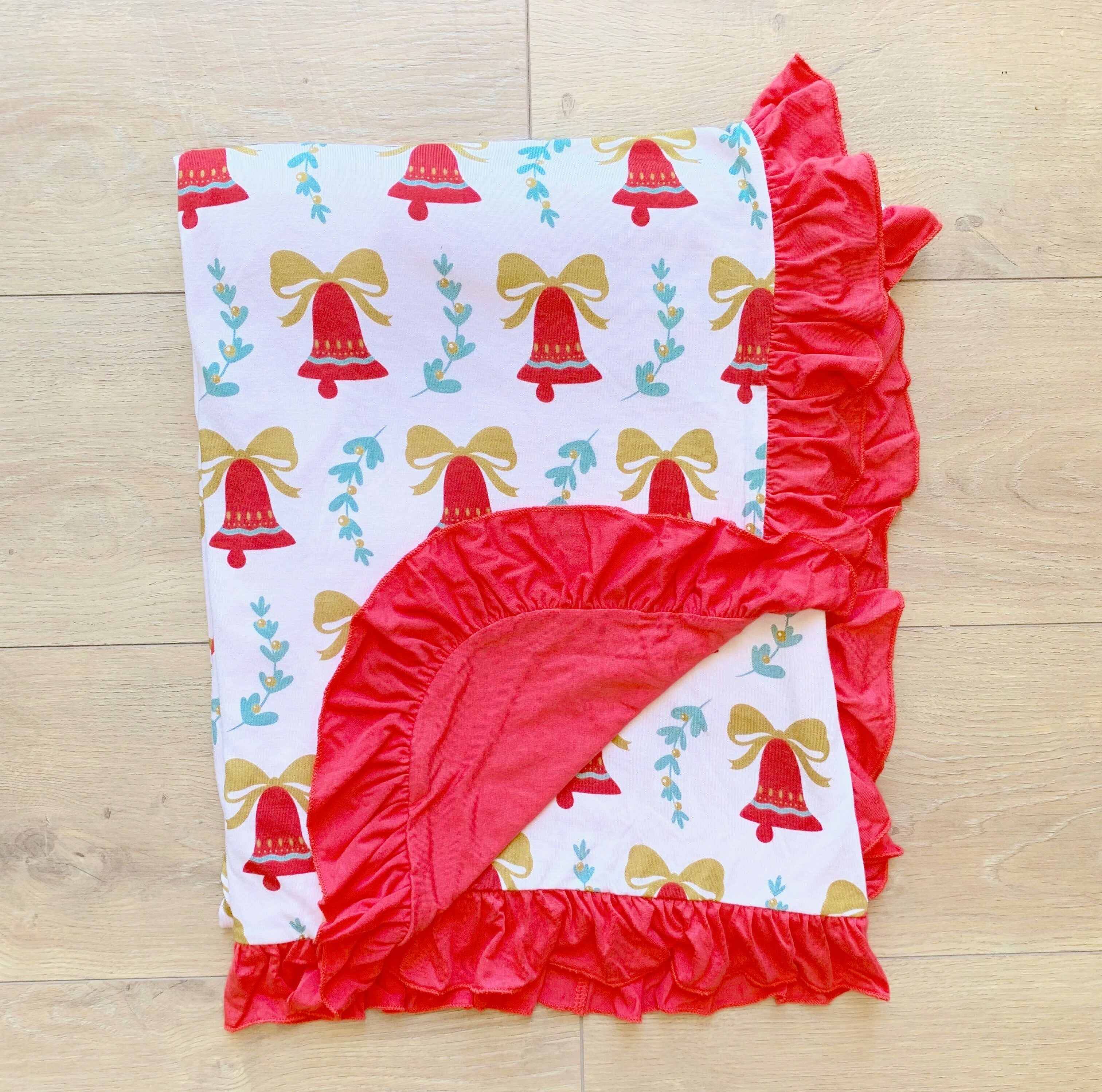 Kozi & Co - Holiday Collection - Stroller Blanket - Bells & Mistletoe with Ruffles