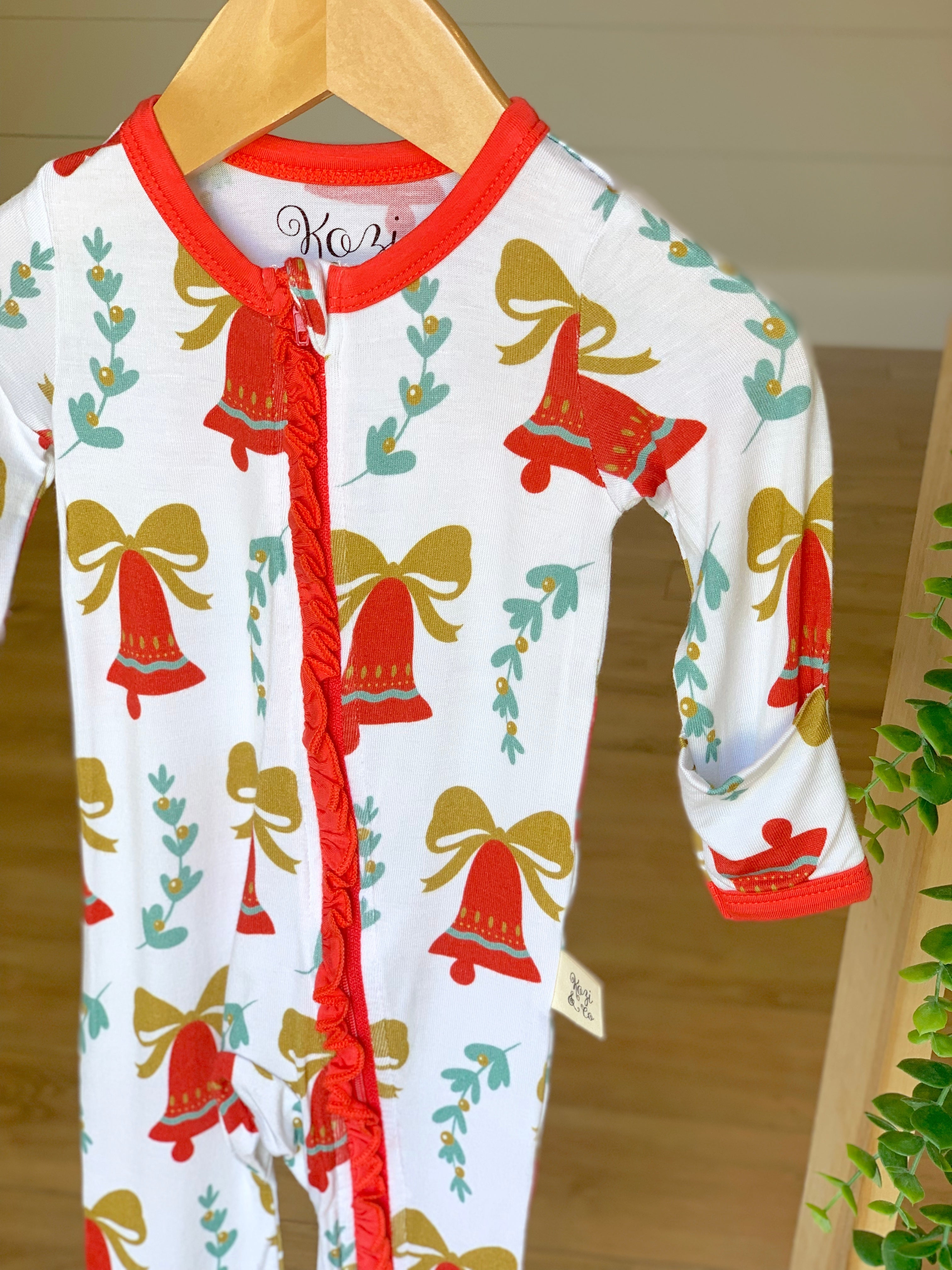 Kozi & Co - Holiday Collection - Coverall - Bells & Mistletoe with Ruffle
