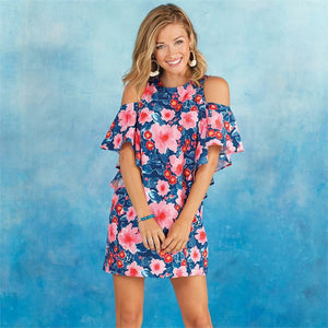 Mud Pie Women's Birdie Ruffle Floral Dress