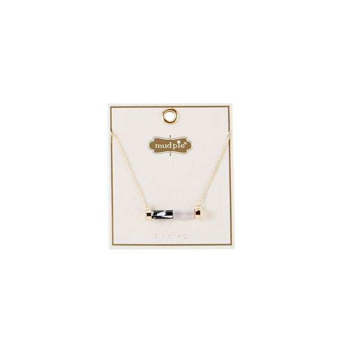Mud Pie Women's Resin Bar Necklace Black