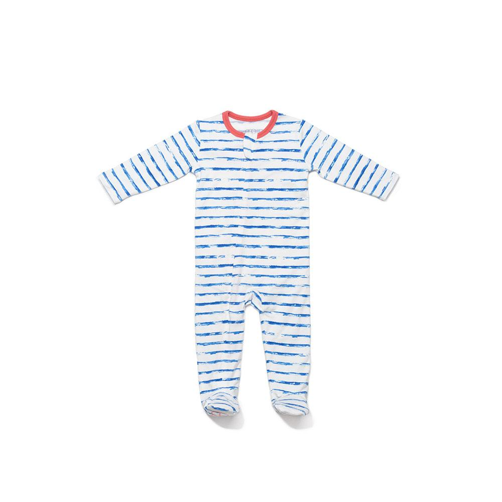 Egg by Susan Lazar - Blue Stripe Classic Footie