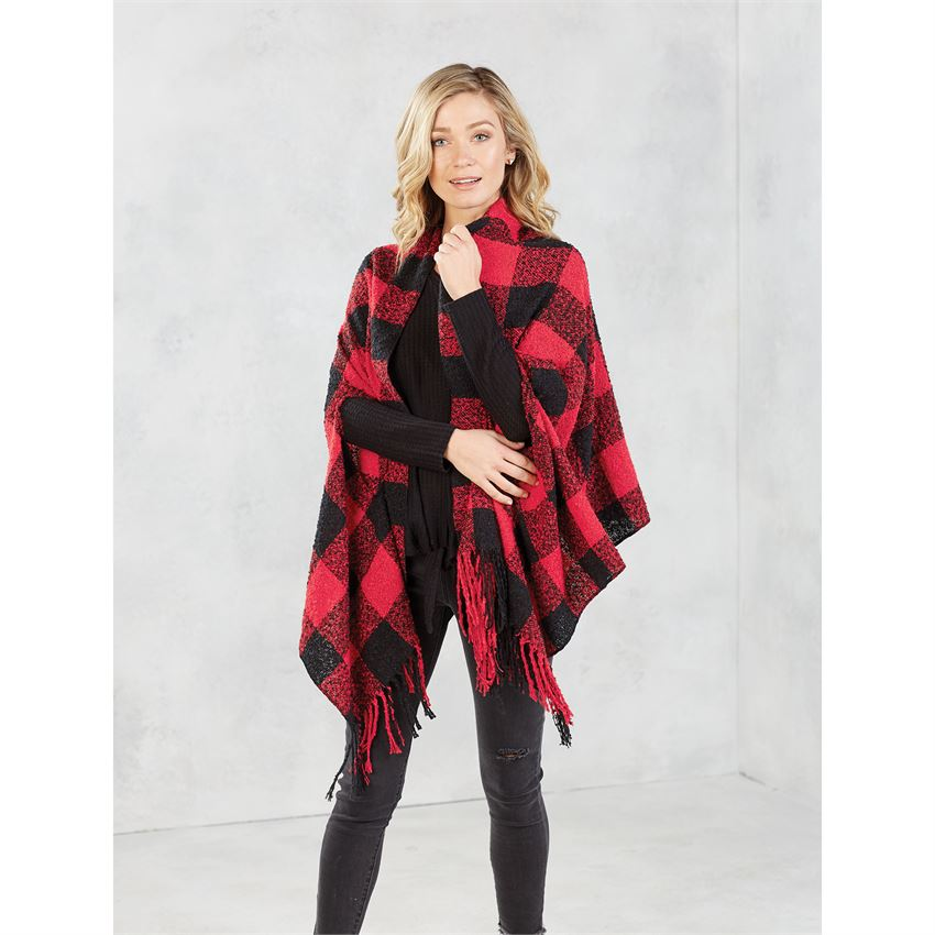 Mud Pie Buffalo Check Boucle Scarf Wrap