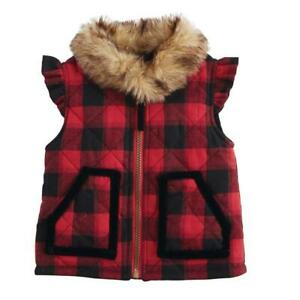 Mud Pie Buffalo Check Fur Vest