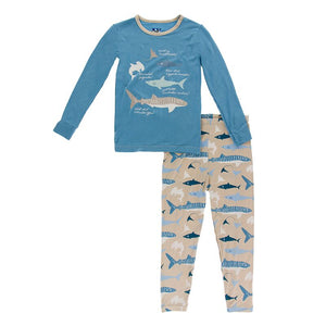 Kickee Pants - Oceanography Collection - Pajama Set - Burlap Sharks