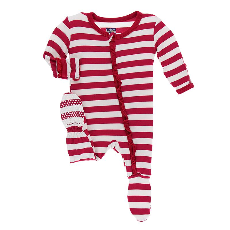 Kickee Pants - Winter Celebrations - Ruffle Footie with Zipper – Candy Cane Stripe 2019