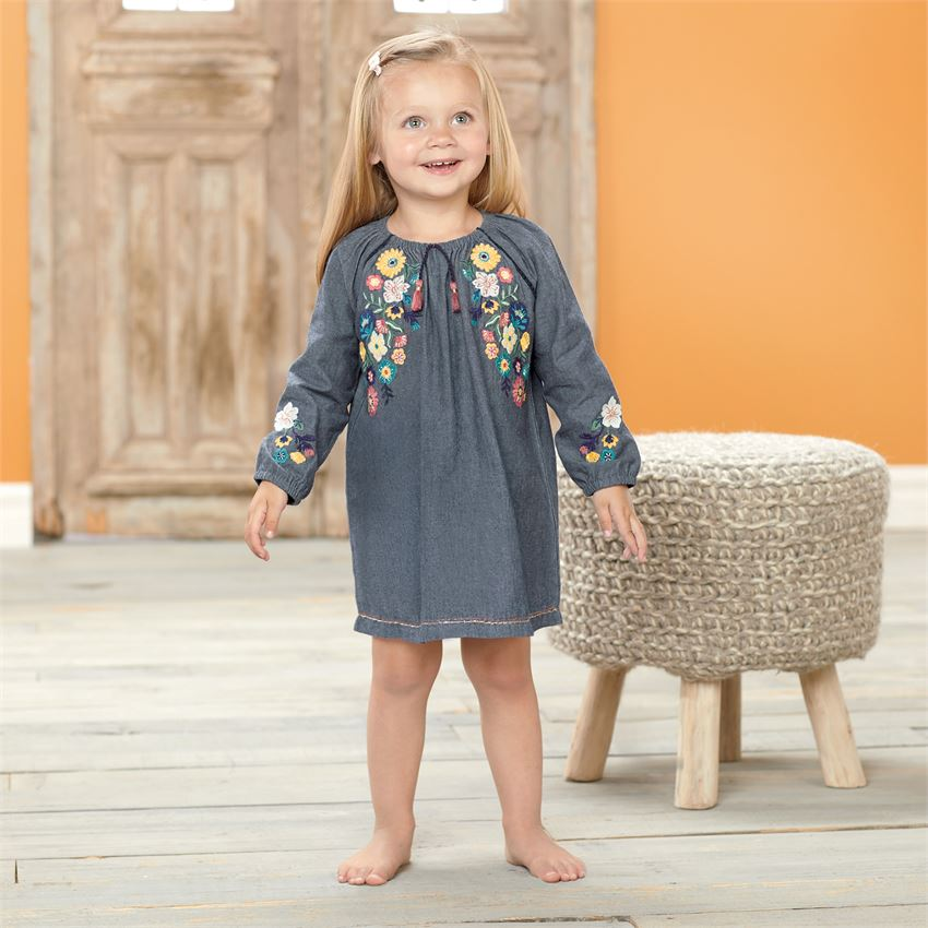 Mud Pie Chambray Floral Embroidered Dress & Bloomer Set