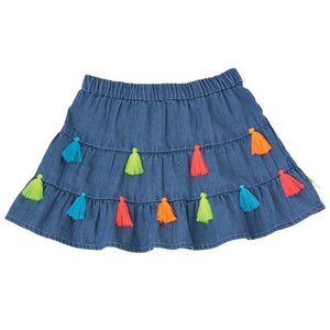 Mud Pie Baby Girls Chambray Tassel Tiered Skirt