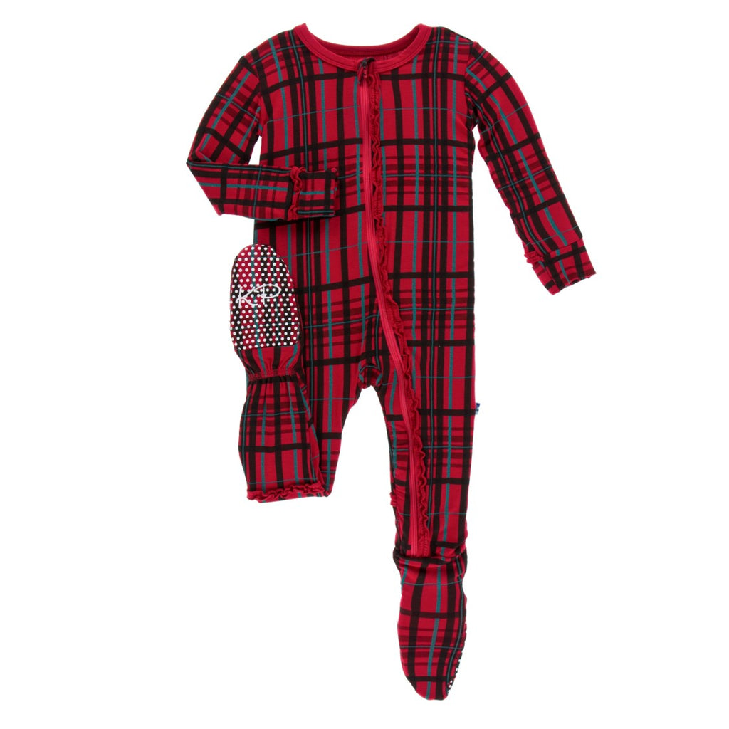 Kickee Pants - Holiday 2018 - Ruffle Footie – Zipper – Christmas Plaid