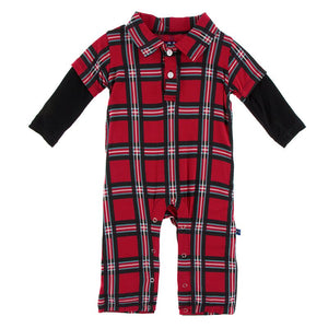 Kickee Pants - Winter Celebrations - Double Layer Polo Romper – Christmas Plaid 2019