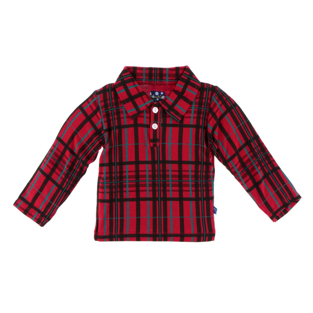 Kickee Pants - Holiday 2018 - Long Sleeve Polo – Christmas Plaid