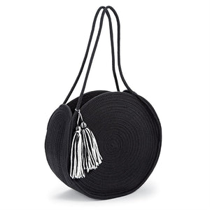 Mud Pie Cotton Rope Circle Tassel Tote Bag