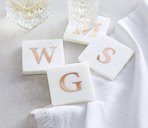 Mud Pie Initial Marble and Copper Coaster Set