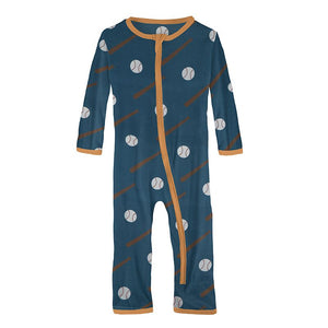 Kickee Pants - Sports and Active Careers Collection - Coverall with Zipper – Deep Sea Baseball