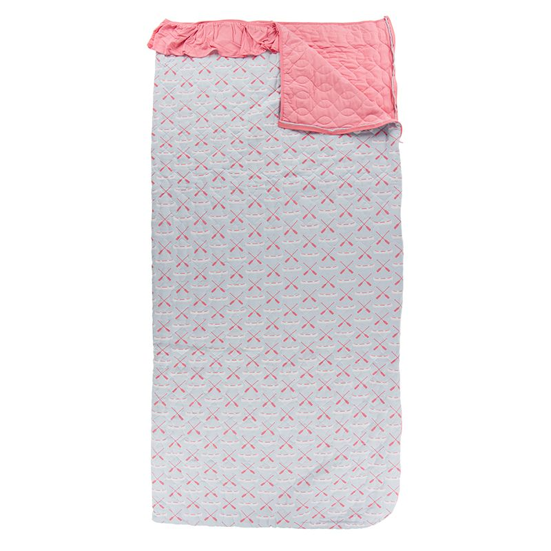 Kickee Pants - Fish & Wildlife Collection - Quilted Ruffle Sleepover Bag - Dew Paddles and Canoe / Strawberry
