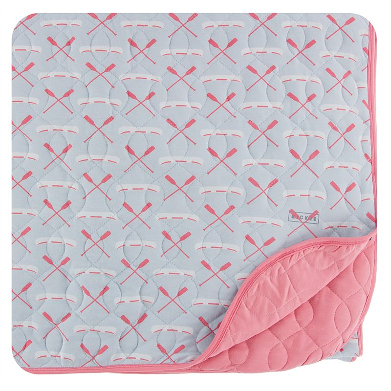 Kickee Pants - Fish & Wildlife Collection- Quilted Throw Blanket - Dew Paddles  and Canoe / Strawberry