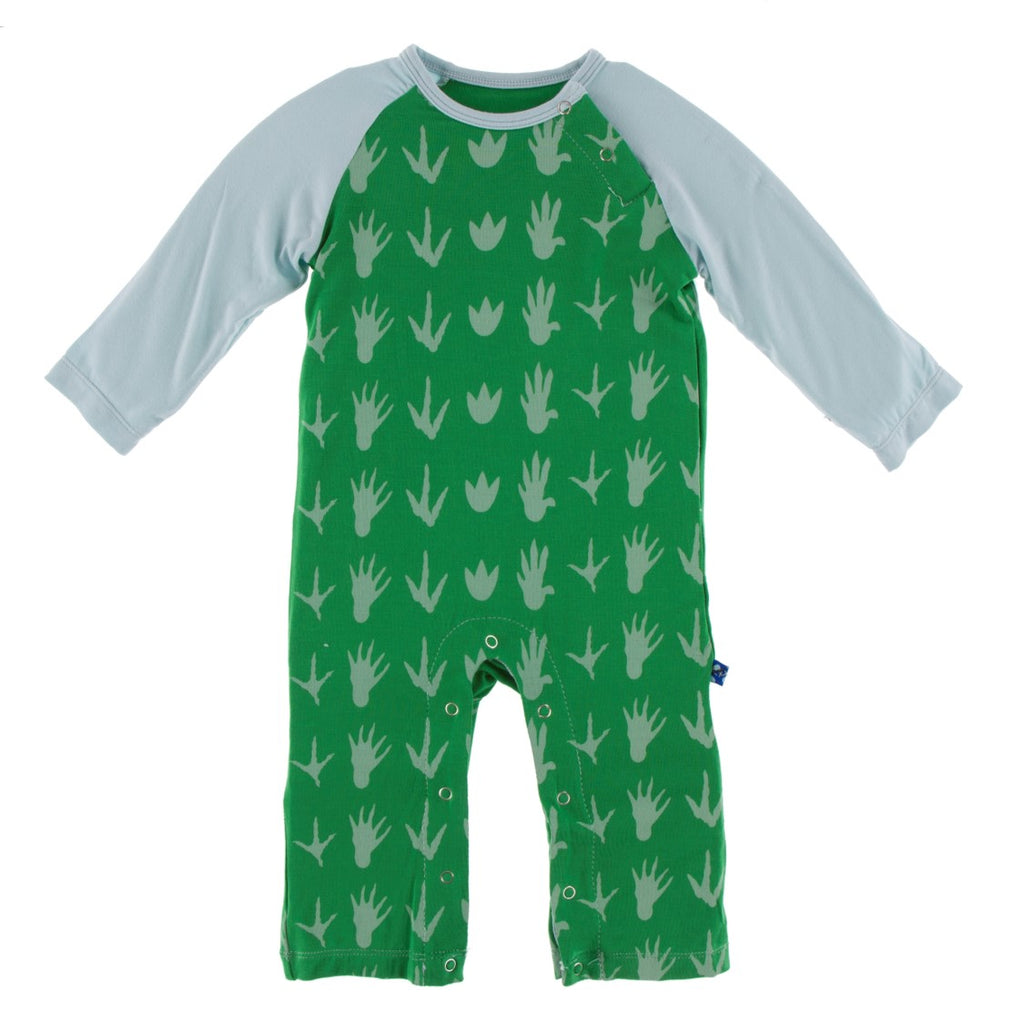 Kickee Pants - Paleontology Collection - Raglan Romper - Dino Tracks