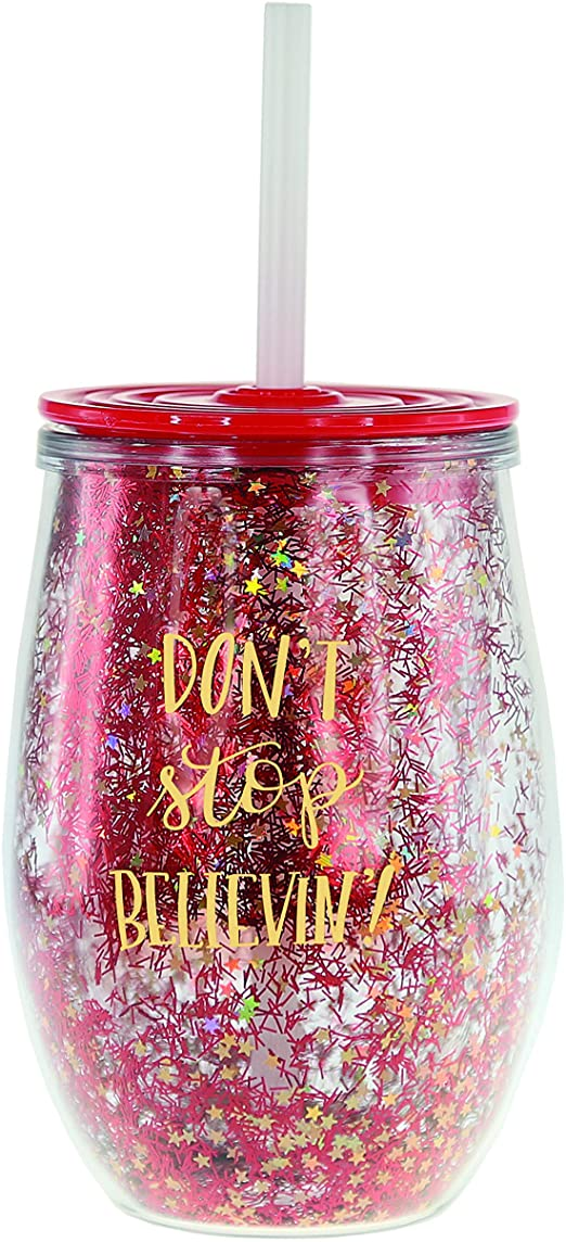 Graphique Wine, Stop Design – Cute Red 12 oz Tumbler With Splash-Resistant Lid, Double-Walled With 2 Types of Glitter Inside, BPA/Phthalate/Lead Free