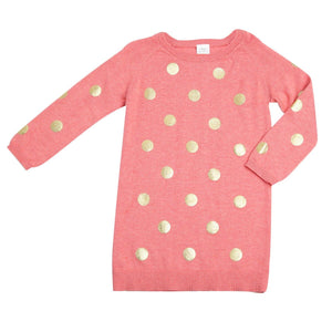 Egg By Susan Lazar Girls Emily Dress - Coral with Gold Dots