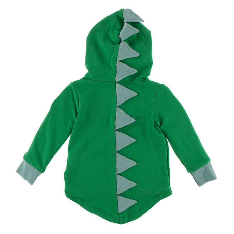 Kickee Pants - Paleontology Collection - Zip Front Dino Hoodie – Fern with Shore