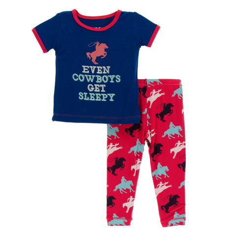 Kickee Pants - Spring 2 2018 - Pajama Set - Flag Red Cowboy
