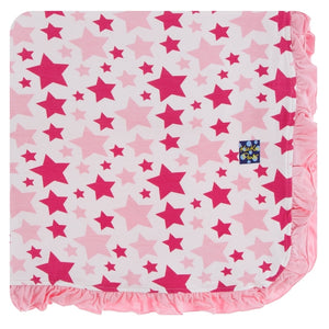 Kickee Pants - Spring 1 - Ruffle Toddler Blanket - Flamingo Star