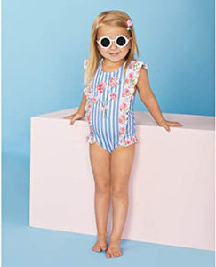 Mud Pie - Striped Floral Swimsuit