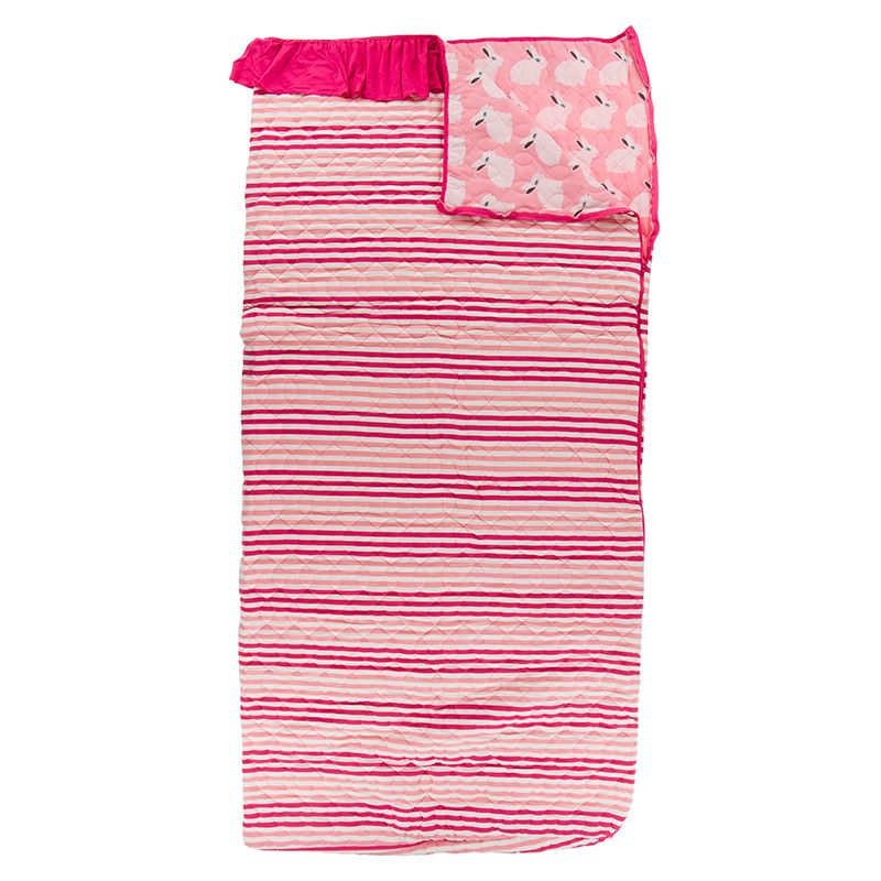 Kickee Pants - Fish & Wildlife Collection - Quilted Ruffle Sleepover Bag - Forest Fruit Stripe / Strawberry Forest Rabbit