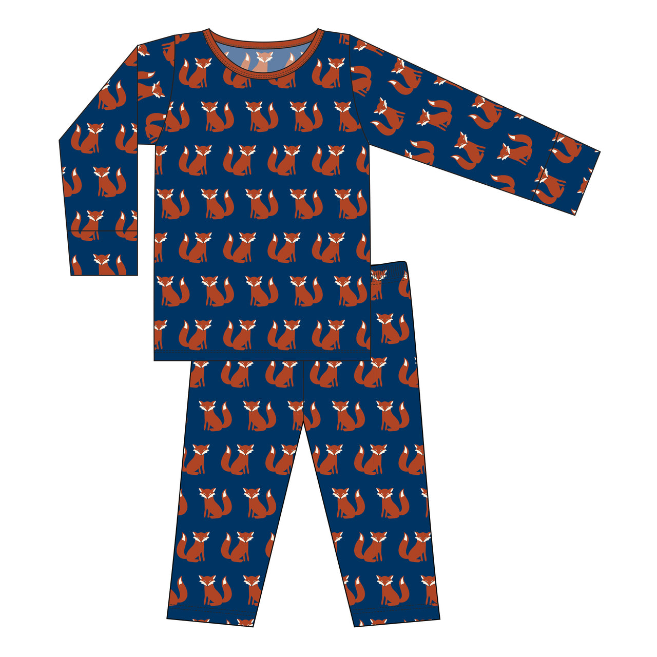 Kickee Pants - Fall 2 2018 - Pajama Set - Navy Fox