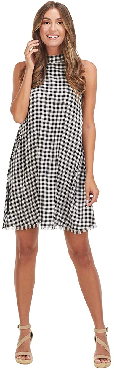 Mud Pie Black Gingham Clara Swing Dress