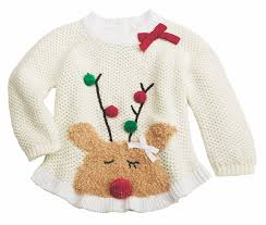 Mud Pie Girls Ivory Furry Reindeer Pom Sweater