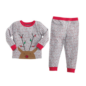Mud Pie Printed Reindeer Pajama Set