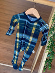 Kozi & Co - Holiday Collection - Footie - Hunter & Gold Plaid