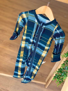 Kozi & Co - Holiday Collection - Coverall - Hunter & Gold Plaid