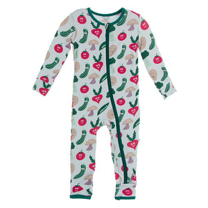 Kickee Pants - Culinary Arts Collection - Coverall with Zipper– Illusion Blue Happy Veggies