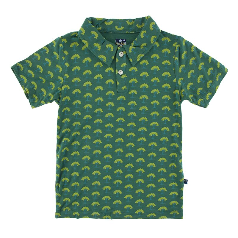 Kickee Pants - Botany Collection - Short Sleeve Performance Polo - Ivy Mini Trees