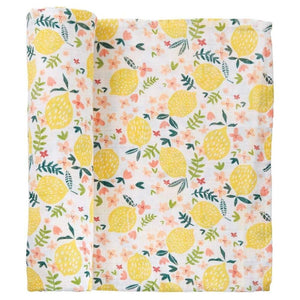 Mud Pie  - Muslin Swaddle Blanket - Lemon Floral