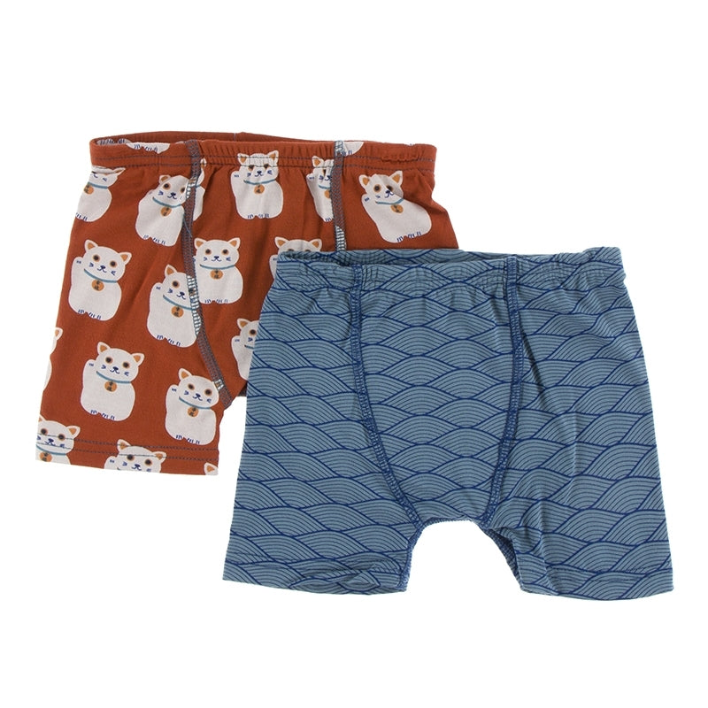 Kickee Pants - Fall 3 2018  - Boxer Brief Set - Lucky Cat & Dusty Sky Tides