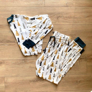 Kozi & Co - Holiday Collection - Women's Pajama Set - Silver & Gold Trees