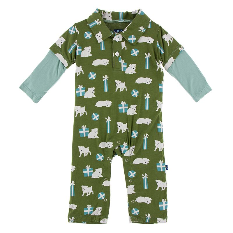 Kickee Pants - Winter Celebrations - Double Layer Polo Romper – Moss Puppies and Presents