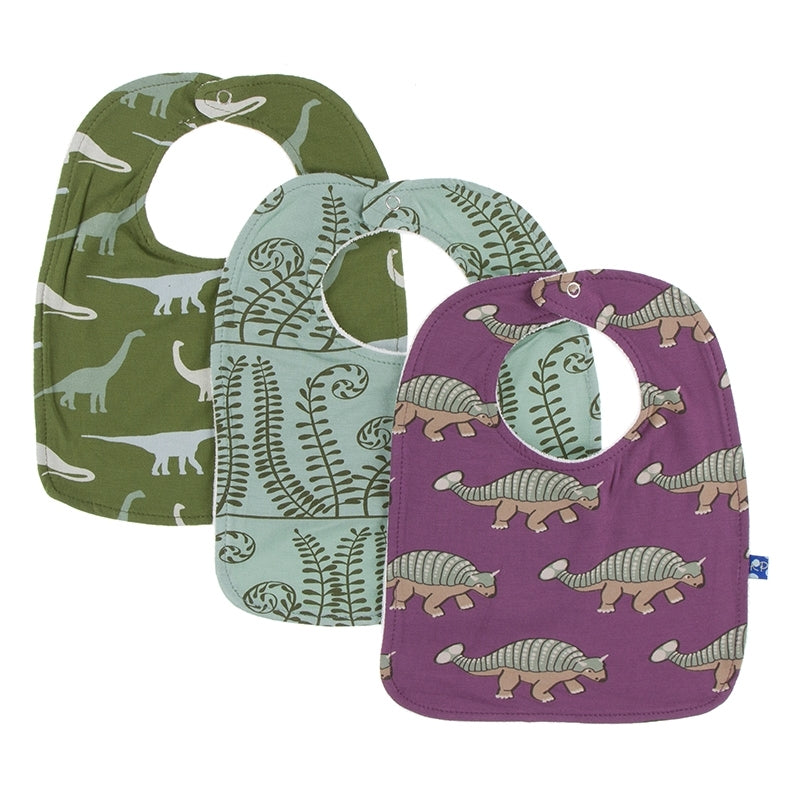 Kickee Pants - Paleontology Collection - Bib Set – Moss Sauropods, Shore Ferns, and Euoplocephalus