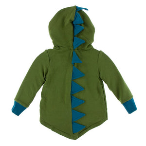 Kickee Pants - Paleontology Collection - Zip Front Dino Hoodie – Moss with Heritage Blue