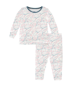 Kickee Pants - Fall 3 2018 - Pajama Set - Natural Japanese Cherry Tree