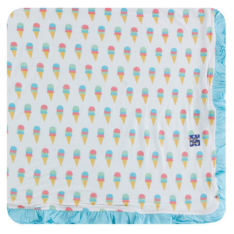 Kickee Pants - Spring 2 2018 - Ruffle Toddler Blanket - Natural Ice Cream