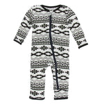 Kickee Pants - Cancun Collection - Coverall with Zipper– Natural Mayan Pattern