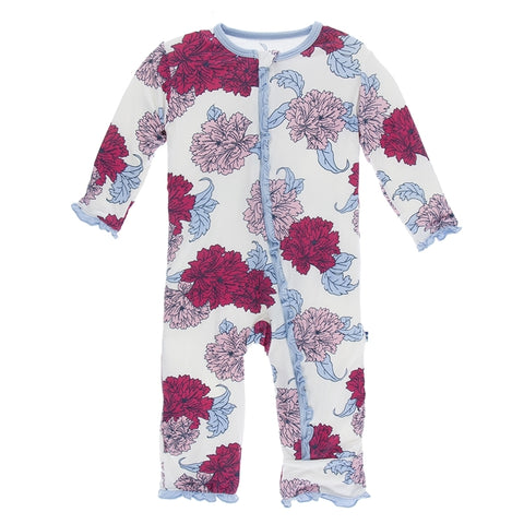 Kickee Pants - Spring 1 2018 - Ruffle Coverall with Zipper – Natural Peony