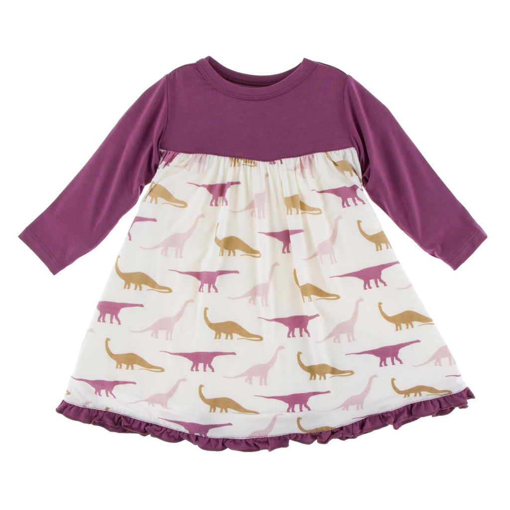 Kickee Pants - Paleontology Collection - Swing Dress – Natural Sauropods