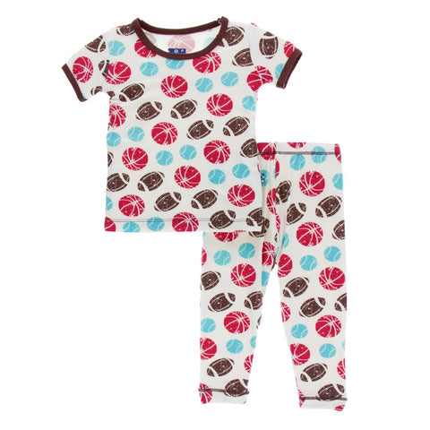 Kickee Pants - Spring 2 2018 - Pajama Set - Natural Sports